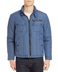 Kenneth Cole   Blue Quilted Zip-front Jacket for Men   Lyst