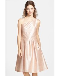 Alfred Sung | Pink One-shoulder Dupioni Fit & Flare Dress | Lyst
