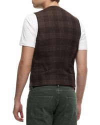 Brunello Cucinelli | Brown Brwn Plaid Waist Coat for Men | Lyst