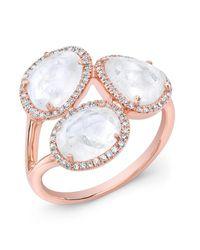 Anne Sisteron - Pink 14kt Rose Gold Moonstone Diamond Trinity Ring - Lyst