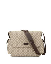 gucci ssima faux leather diaper bag w changing pad in natural lyst. Black Bedroom Furniture Sets. Home Design Ideas