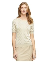 Brooks Brothers | Natural Short-sleeve Jacquard Sweater | Lyst