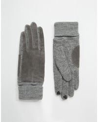 Esprit | Gray Leather Panel Gloves With Touch Screen Fingertips for Men | Lyst