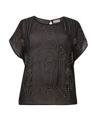 Label Lab - Black Plus Size Beaded Woven Top - Lyst
