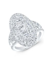 Anne Sisteron | Metallic 14kt White Gold Baguette Diamond Era Ring | Lyst