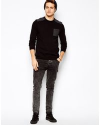 ASOS - Black Sweater with Dogstooth Patch for Men - Lyst