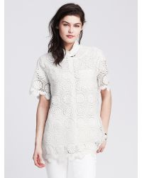 Banana Republic | White Medallion Lace Top | Lyst