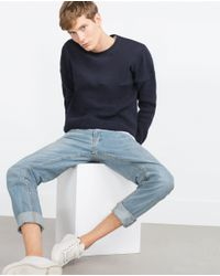 Zara | Blue Contrasting Knit Sweater for Men | Lyst