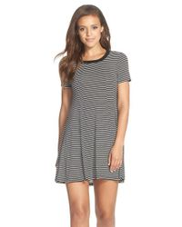 BCBGeneration | Black Stripe Jersey T-shirt Dress | Lyst