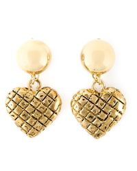 Moschino - Metallic Heart Drop Earrings - Lyst