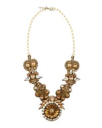 Deepa Gurnani - Multicolor Golden Floral Medallion Necklace - Lyst
