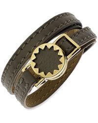 House of Harlow 1960 | Metallic Gold-tone Sunburst And Khaki Leather Wrap Bracelet | Lyst