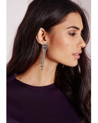 Missguided - Metallic Opulant Tier Earrings Silver - Lyst
