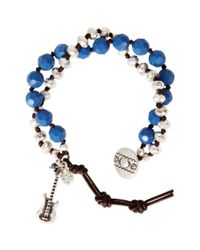 Lucky Brand - Blue Silvertone Guitar Charm and Mixed Bead Leather Bracelet - Lyst