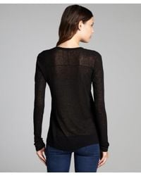 INHABIT | Black Linen Blend Scoop Neck Sweater | Lyst