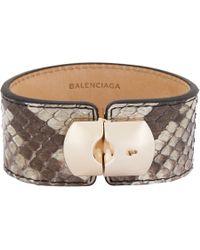 Balenciaga | Brown Python Padlock Bracelet | Lyst