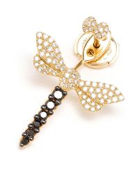 Yvonne Léon | Metallic Diamond Dragonfly Lobe Earring | Lyst