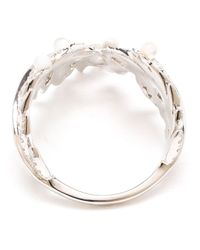 Yvonne Léon | White Pearl And Diamond Wreath Ring | Lyst