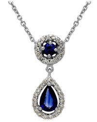 Macy's | Sapphire (5/8 Ct. T.w.) And Diamond (1/5 Ct. T.w.) Pendant Necklace In 14k White Gold | Lyst