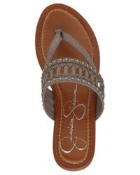 Jessica Simpson | Gray Ridgely Woven Flat Thong Sandals | Lyst