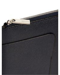Valextra - Blue Zip-around Pebbled-leather Pouch for Men - Lyst