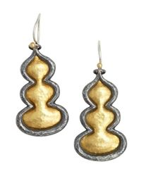 Gurhan | Metallic Dark Silver And Gold 'flame' Drop Earrings | Lyst