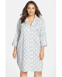 Lauren by Ralph Lauren | Blue Floral Print Sleep Shirt | Lyst
