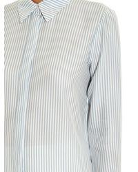 FRAME - Blue Le Classic Striped Silk Shirt - Lyst