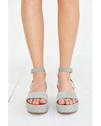 Urban Outfitters | Green Paige Platform Sandal | Lyst