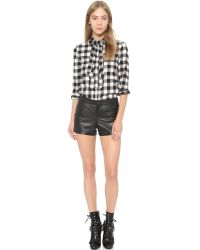 RED Valentino - Black Check Cotton Flannel Shirt - Lyst