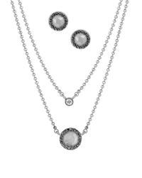 Lucky Brand | Metallic Pave Stud Earrings And Layered Necklace Set - Silvertone | Lyst
