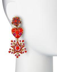 Oscar de la Renta | Red Crystal Stars & Heart Drop Earrings | Lyst