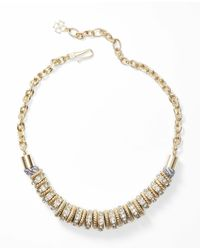 Ann Taylor - Metallic Flouret Rings Necklace - Lyst
