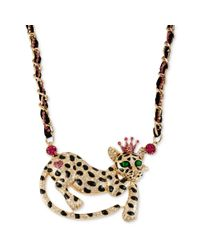 Betsey Johnson | Metallic Antique Goldtone Leopard Frontal Necklace | Lyst