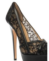 Charlotte Olympia - Black Morwenna Lace And Leather Pumps - Lyst