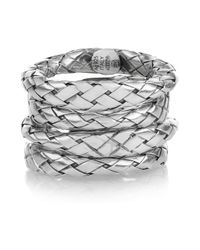 Bottega Veneta Metallic Set Of Four Intrecciato Sterling Silver Rings