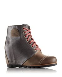Sorel | Gray Lace-up Leather Wedges | Lyst