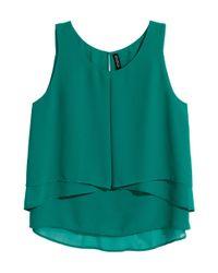H&M - Green Sleeveless Chiffon Blouse - Lyst