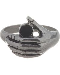 Saint Laurent - Metallic Silver Wisdom Hand Onyx Ring for Men - Lyst