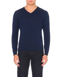Armani Jeans | Blue V-neck Wool Jumper for Men | Lyst