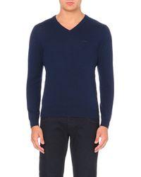 Armani Jeans - Blue V-neck Wool Jumper for Men - Lyst