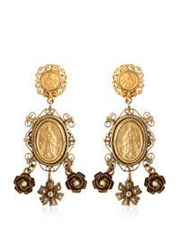 Dolce & Gabbana - Metallic Gold Plated Pendant Earrings - Lyst
