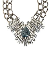 BCBGMAXAZRIA | Blue Teardrop Embellished Double Chain Necklace | Lyst