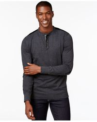 Sean John | Blue Men's Contrast-trim Henley for Men | Lyst
