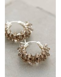 Anthropologie | Metallic Crystal Spiral Mini Hoops | Lyst
