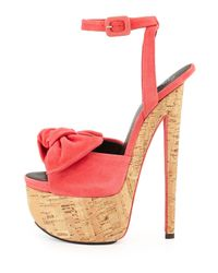 Giuseppe Zanotti | Pink Denny Suede High-Heel Sandal W/ Bow | Lyst