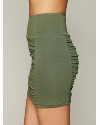 Free People | Green Womens High Waist Scrunch Skirt | Lyst