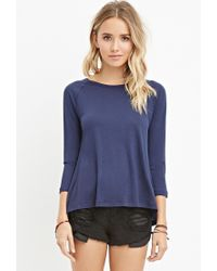 Forever 21 | Blue Ribbed-panel Slub Knit Top | Lyst