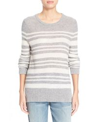 LOMA | Gray 'kris' High/low Stripe Cashmere Sweater | Lyst