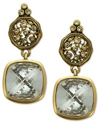 T Tahari | Metallic 14k Gold Plated Essentials Crystal Scroll Drop Earrings | Lyst